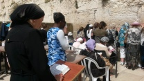 Jewish women praying at Wailing Wall